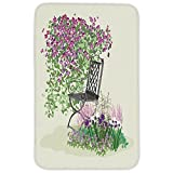 Rectangular Area Rug Mat Rug,Country Home Decor,Island for Relaxing in the Garden Among the Flowers Blooming Summer Day Artwork,Purple Green,Home Decor Mat with Non Slip Backing