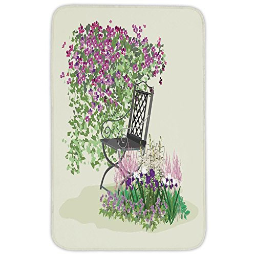 Rectangular Area Rug Mat Rug,Country Home Decor,Island for Relaxing in the Garden Among the Flowers Blooming Summer Day Artwork,Purple Green,Home Decor Mat with Non Slip Backing by iPrint