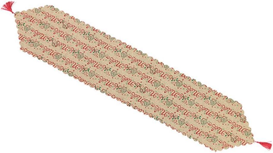 Handfly Camino de Mesa de Copo de Nieve de Navidad Camino de Mesa navide/ño y Tela con borlas para Decoraciones navide/ñas de Mesa de Comedor Chrismas Table Runner