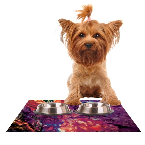 KESS InHouse Mary Bateman Passion Flowers II  Feeding Mat for Pet Bowl, 18 by 13-Inch