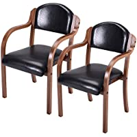 Costway Set of 2 Dining Arm Chairs Bent Wood Arm Kitchen Living Room Decor Furniture