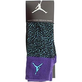 Nike Men's Jordan All Over Elephant Crew Socks Large (8-12) Purple Gamma Blue