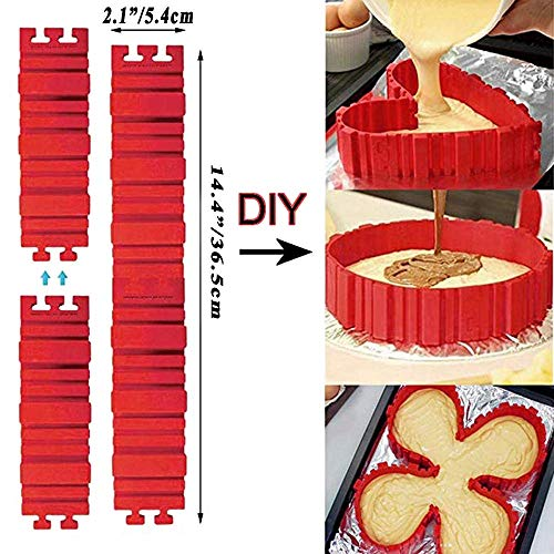Bake Snakes, 8 PCS Silicone Cake Mold Food Grade Nonstick Flexible Reusable Create Any Shape of Cake DIY Baking Mould Tools