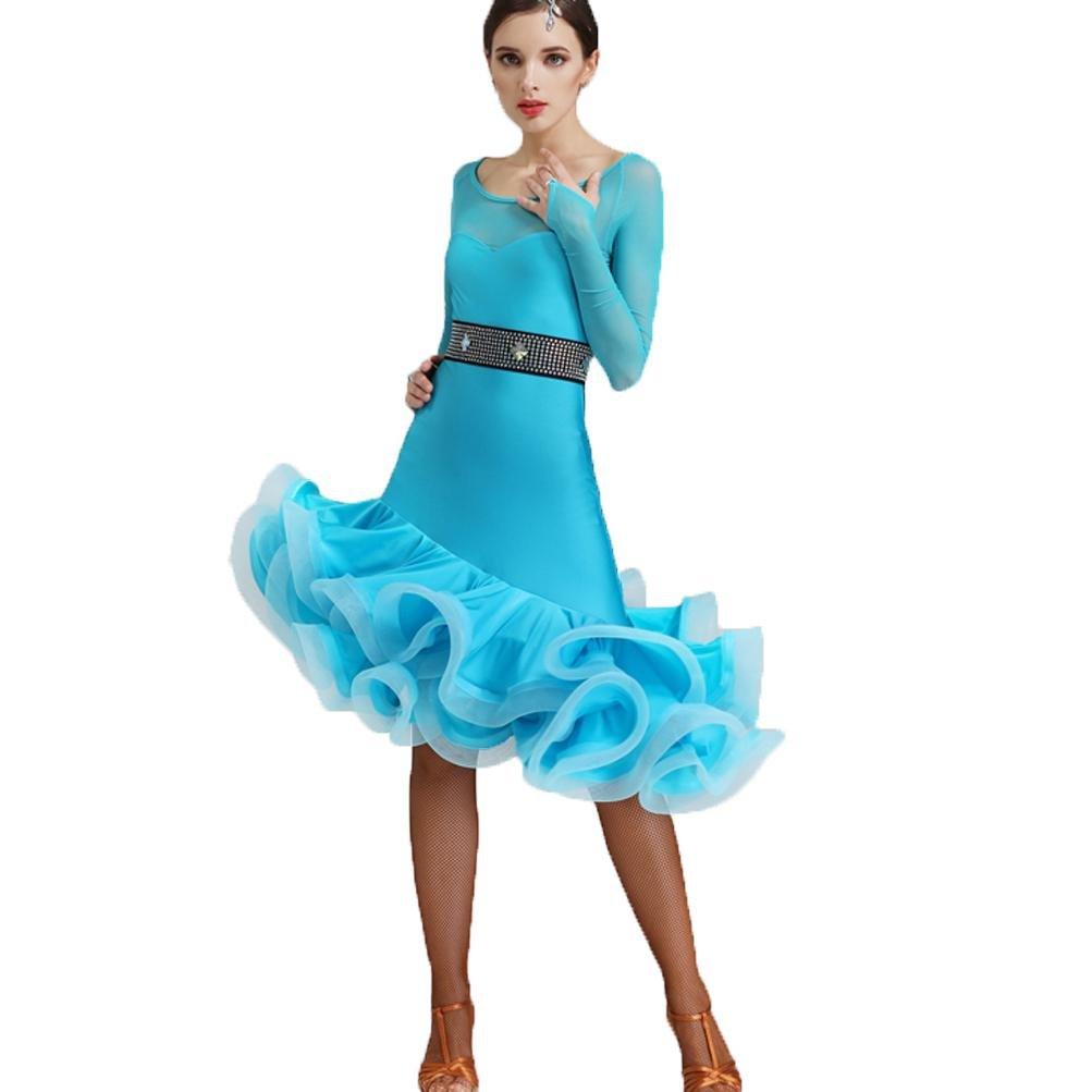 vert XL VêteHommests de Danse Moderne à Manches Longues en Dentelle pour Les Femmes Perforhommece Training Robes de Danse de Salon