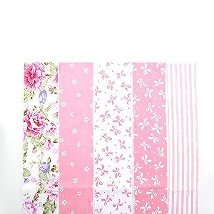 reixus (TM) 5 Color Rosa Flor Patchwork algodón rayas bordado Patchwork plástico N?