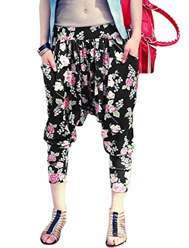 sourcingmap® Mujer estampados florales cintura elástica bolsillos lateral oblicua Sarouel Black