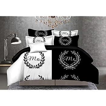 Amazon.com: CocoQueen Black and White Couples 3pcs Duvet Cover Set ... : mr tumble quilt cover - Adamdwight.com