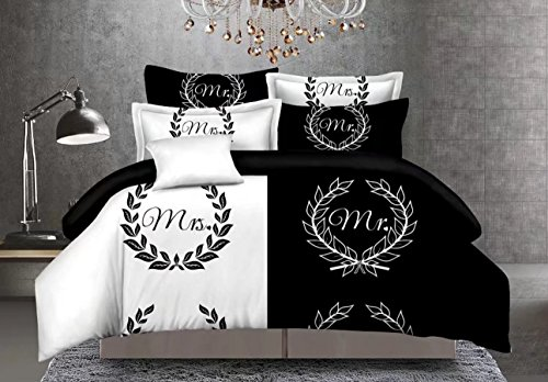 CocoQueen Black and White Couples 3pcs Duvet Cover Set Mrs. Mr. Lovers Bedding Set Queen Size (Comforter Sets Queen For Couples)