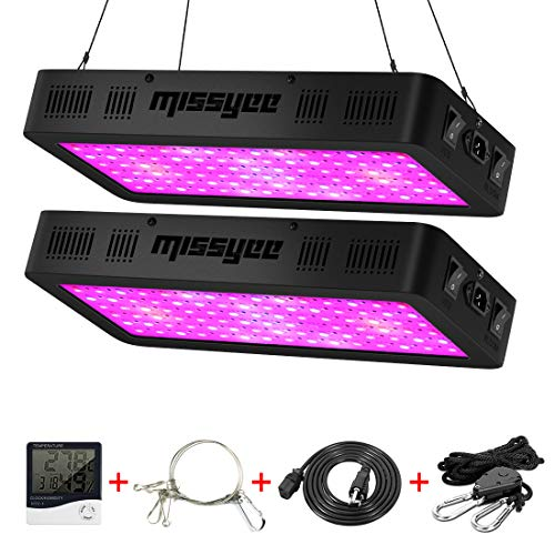 Missyee 900W LED Grow Light, 2-Pack Full Spectrum Plant Light with UV/IR, Thermometer Humidity Monitor and Adjustable Rope, Veg & Bloom Double Switch Grow Lamp, for Indoor Plants Veg Flower Review