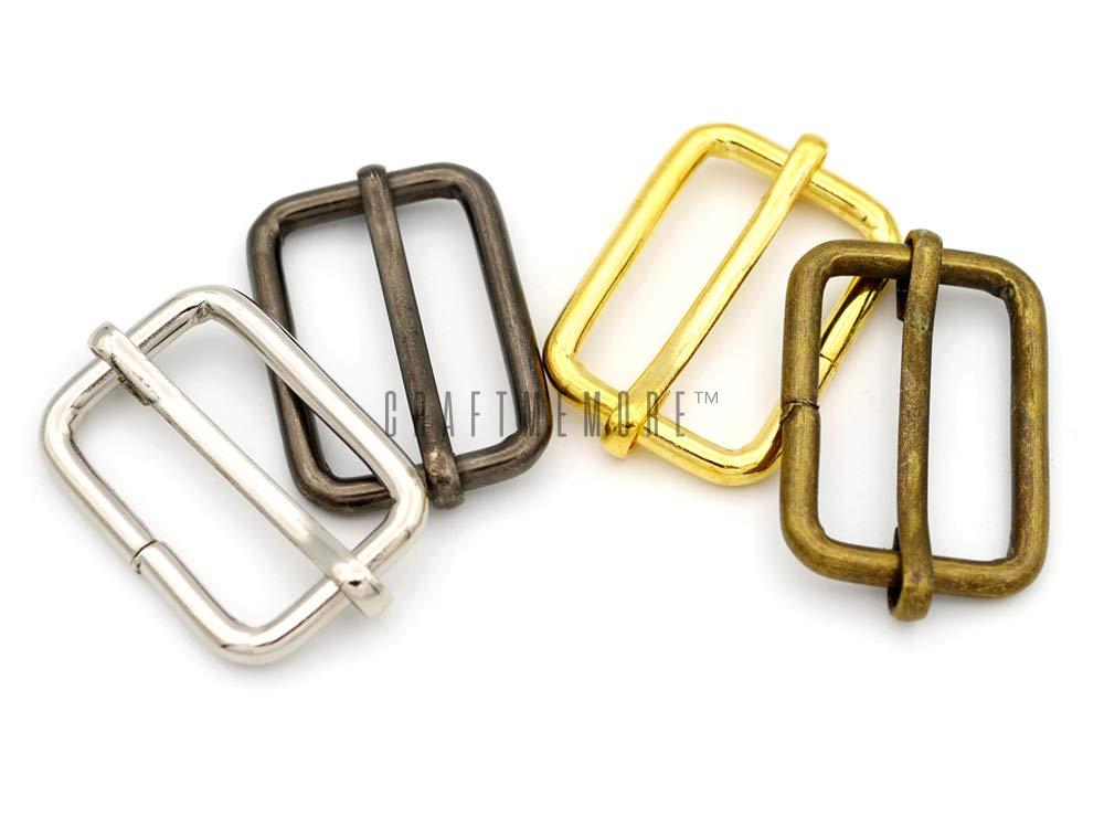 3//4 Inch, Antique Brass CRAFTMEmore Movable Bar Slide Strap Adjuster Rectangle Strap Keeper Triglide Belt Keeper Purse Making 5//8 3//4 1 Pack of 10