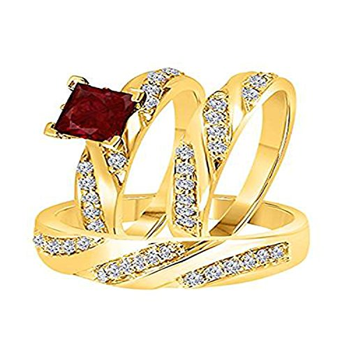 ArtLine Jewels 14k Yellow Gold Fn Ruby & Simulated Diamond Studded His & Her Trio Ring Set -