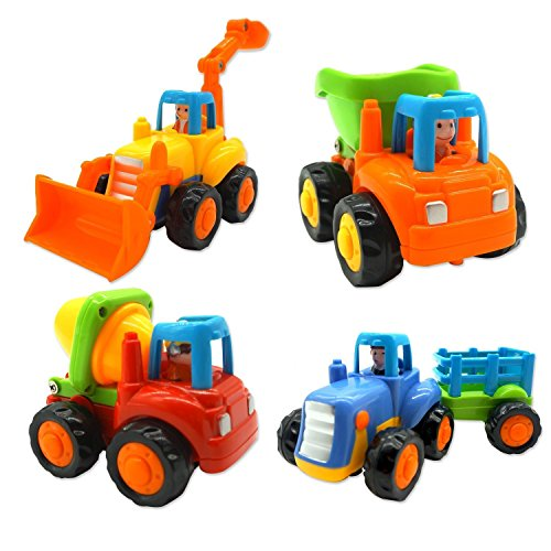 Toddler Baby Push and Go Friction Powered Car Set of 4, Dump Truck Cement Mixer Bulldozer Tractor, Early Educational Cartoon Vehicle for Children Kids Boys Girls Growth 1 to 3 Year Old