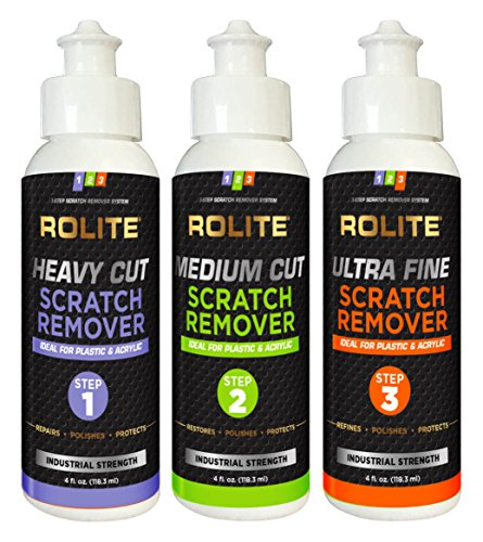 Rolite's 3 Step Scratch Removal System for Plastic & Acrylic (4 fl. oz.) with Heavy Cut, Medium Cut and Ultra Fine Combo - Plastic Remove Scratches Clear