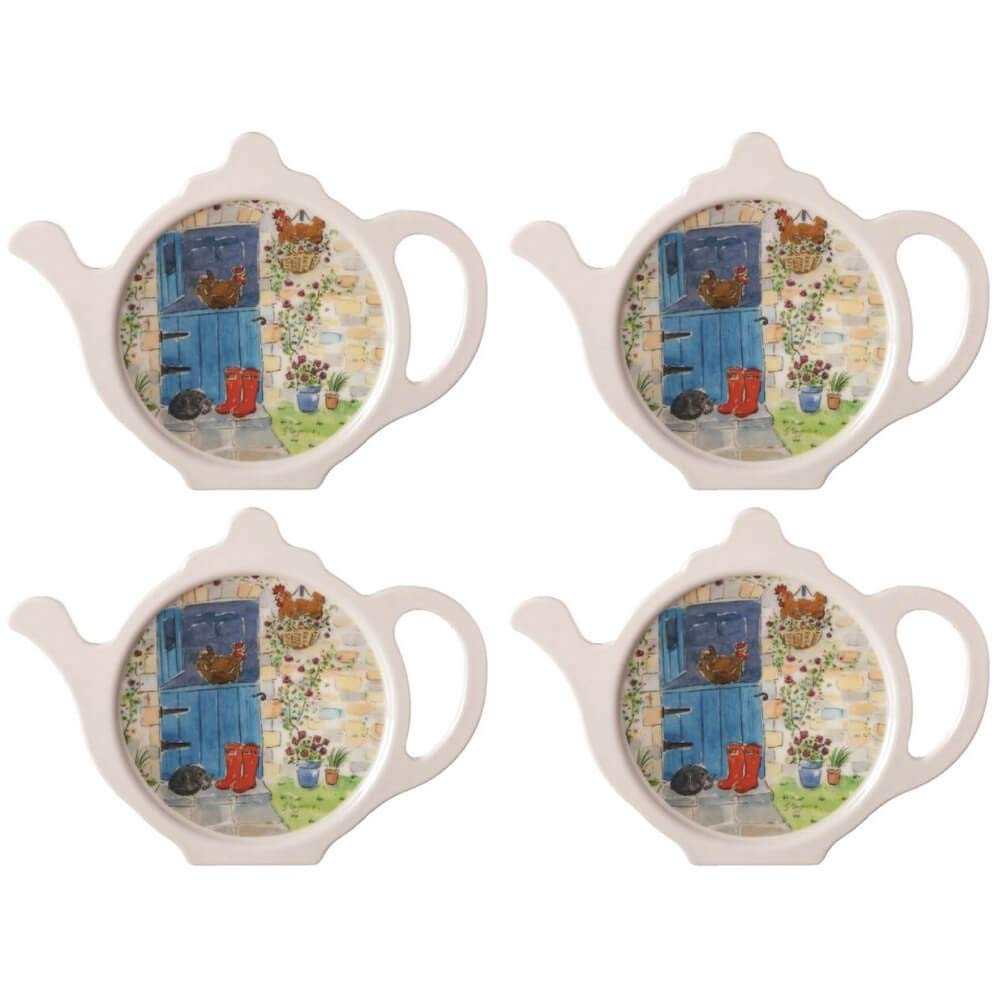 Hanging Out Teabag Tidy, Melamine Teabag Caddy Holder Plate, 4 inch, Set of 4 by Hanging Out