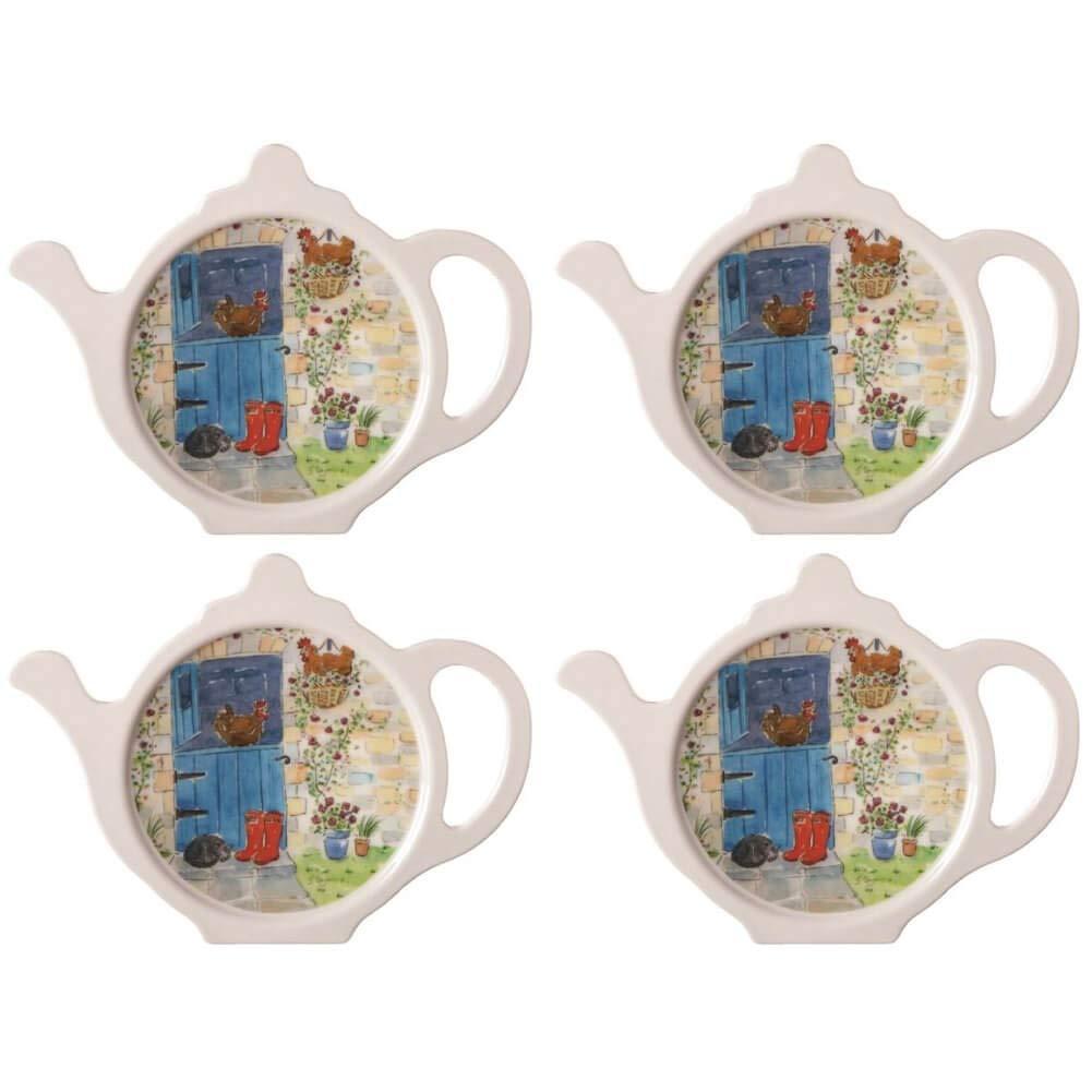 Hanging Out Teabag Tidy, Melamine Teabag Caddy Holder Plate, 4 inch, Set of 4