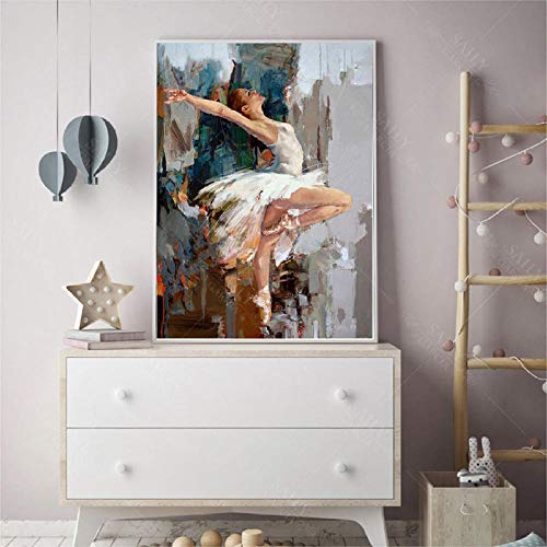Chihie Bailarina de Baile Pintura al oleo Famoso Artista de Mahnoor Pintado Abstracto Ballet Girl Wall Painting 60cm x90cm Sin Marco
