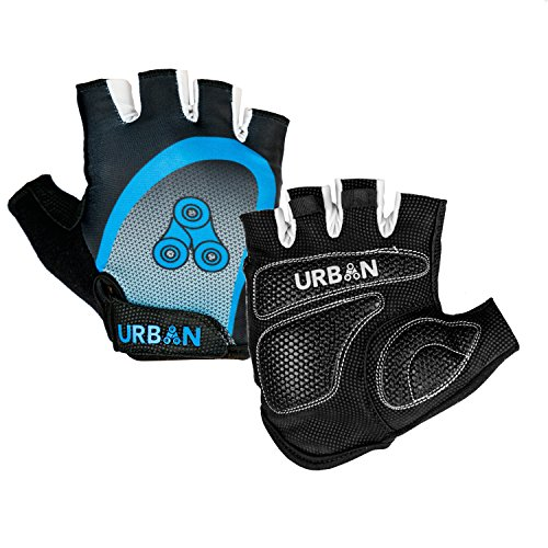 (Urban Cycling - Elite Half Finger Bike Gloves with Gel Pads for Thick Shock-Absorption, for Road Cycling and Mountain Biking MTB, Unisex (Large))