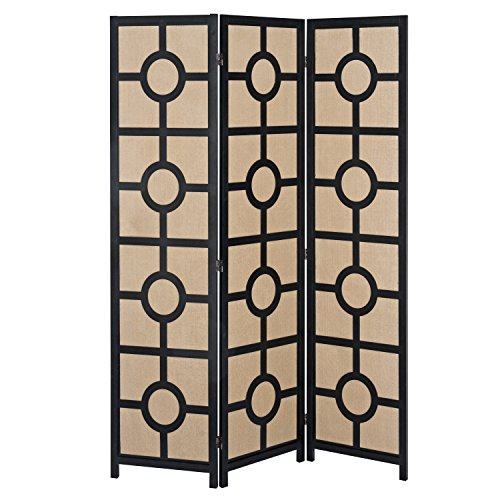 (Modern Design Black Wood Framed 3-Panel Folding Room Divider with Beige Woven Linen Panels)