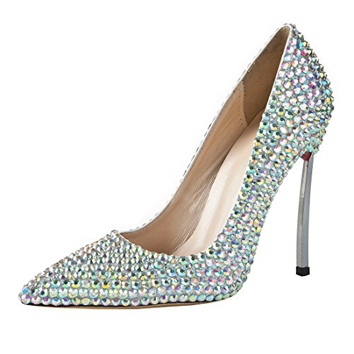 Stiletto MA1267 High Evening Women's Crystals Pumps Shoes Silver Leather Heel TDA Wedding Htx67wqB