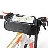 SunBeter Bike Frame Bag, Waterproof Cycling Handlebar Bag Multifunctional Shoulder Bag with Touch Screen Transparent Window - Smartphones Holder Perfect for Universal Phone (5.5 inches) (Black)