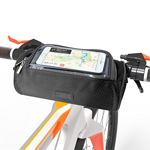 (SunBeter Bike Frame Bag, Waterproof Cycling Handlebar Bag Multifunctional Shoulder Bag with Touch Screen Transparent Window - Smartphones Holder Perfect for Universal Phone (5.5 inches) (Black))