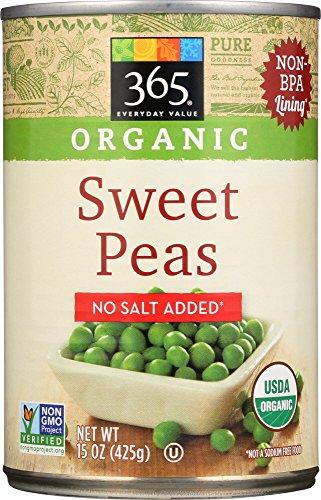365 Everyday Value Organic Sweet Peas No Salt Added, 15 Ounce