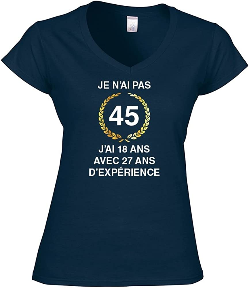 Mygoodprice T-Shirt Femme col V Anniversaire exp/érience 45 Ans