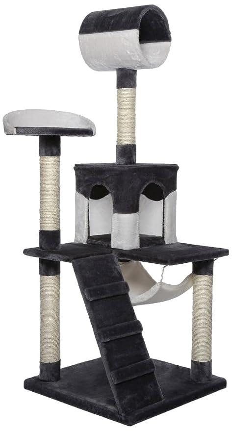 Dibea KB00355 Rascador para Gatos, 133 Cm, Árbol Escalador Arañar Juguete Gris y Blanco