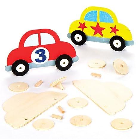 Kit de Plantillas de Coches de Madera Que los niños Pueden Pintar, Decorar y exhibir - Juego de Manualidades Creativas para niños (Pack de 5).