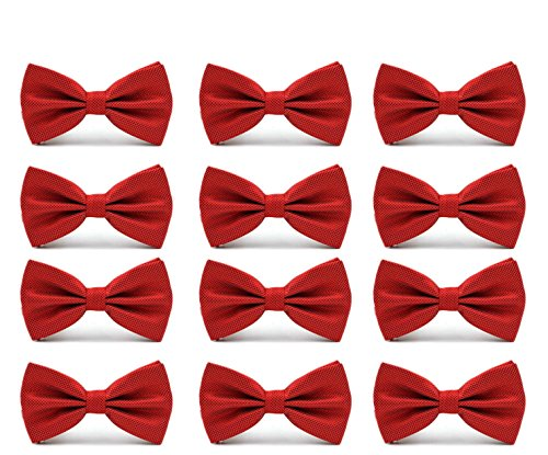 12pcs Men's Pre-tied Adjustable Formal Premium Bow Tie Tuxedo Solid Bowtie by Avant Men (12-Pack-Red)