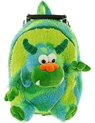 Kreative Kids Plush Rolling Backpack Monster, Green