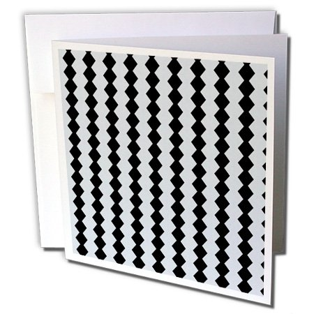 SmudgeArt Pattern Designs - Textile Pattern Black And White Diamonds - 6 Greeting Cards with envelopes (gc_18474_1)
