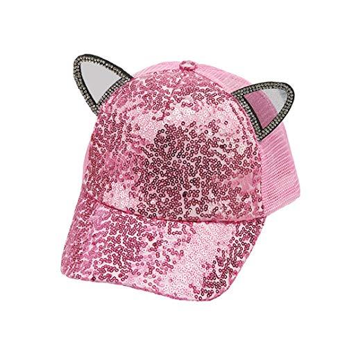 Rebecca Kids Girls Boys Sparkle Sequins Mesh Baseball Cap Cat Ears Glitter Shimmer Peak Cap Adjustable Sun Hat Pink]()