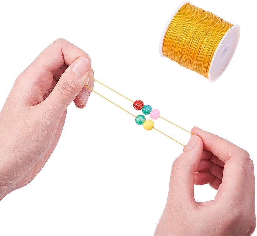 PandaHall 116 Yardas 0.5mm Cordones Redondos de Poli/éster Encerado Hilo Rebordear Cadena de Carrete para Pulsera Collar Fabricaci/ón de Joyas Suministros de Macram/é Cian Oscuro
