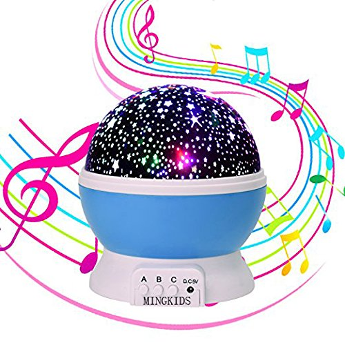 Stars 12 Light (Lullaby Night Light,MINGKIDS Rechargeable Stars Moon projector Warm Night Lamp,Changing Color light,Rotation,12 songs,Gift for Babies Children,Nursery)