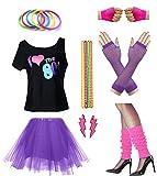 Women I Love The 80's Disco 80s Costume Outfit Accessories Set (M/L, Purple)