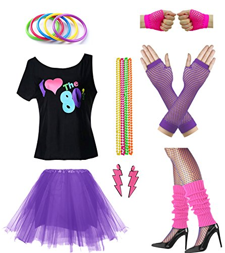 Women I Love The 80's Disco 80s Costume Outfit Accessories Set (M/L, Purple) -