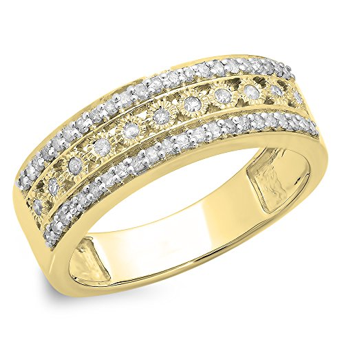 Dazzlingrock Collection 0.35 Carat (ctw) 10K White Diamond Anniversary Wedding Stackable Band 1/3 CT, Yellow Gold, Size 6