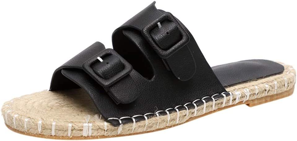VEZARON 2-Strap PU Leather Slip Buckle Slippers Hemp Rope on Sandals for Womens with Adjustable Strap Buckle Open Toe Slippers Suede Sole 39, Black