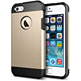 iPhone 5S Case, Spigen® [Tough Armor] HEAVY DUTY [Champagne Gold] EXTREME Protection / Rugged but Slim Dual Layer Protective Cover for iPhone 5/5S - Champagne Gold (SGP10584)