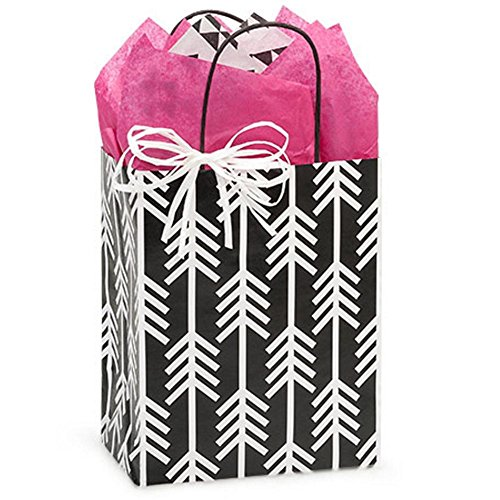 Kinetic Ink White and Black Paper Shopping Bags - Cub Size - 8 x 4 3/4 x 10 1/4in. - 200 Pack by NW