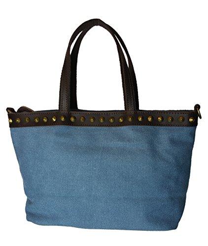 VERA PELLE - Made in Italy, Borsa a mano donna Blu blu Blu (blu)