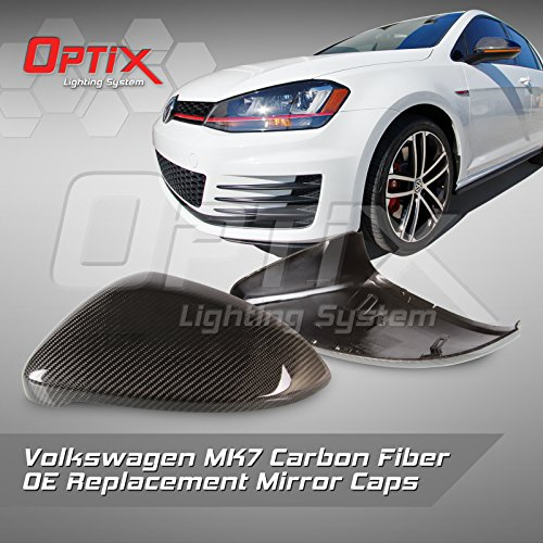 2015-2017 VW MK7 GTI Replacement Carbon Fiber Mirror Caps - Volkswagen MK7 Golf CF Mirror Direct Replacement Cover Set Golf Gti Carbon