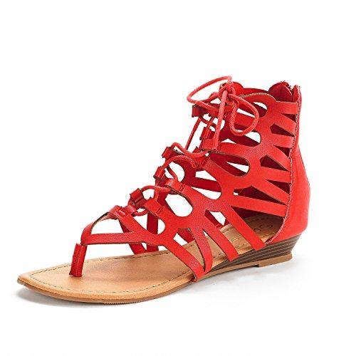 Ankle Zipper Toe Gladiator Up Summer Cutout Open Women's Pu Sandals Flat PAIRS Strap Red Lace Back New DREAM TAJ 1x8znqg7
