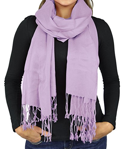 Belle Donne- Women's Scarf Viscose Pashmina Scarves / Shawl Wrap - Solid Colors - Lilac (Purple Viscose)