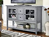 WE Furniture 52″ Wood Console Table Buffet TV Stand – Antique Grey Review