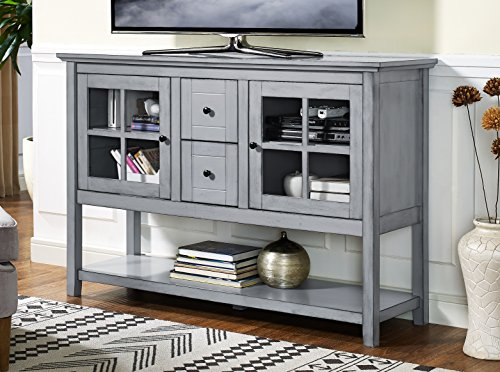 WE Furniture 52in Wood Console Table Buffet TV Stand, Antique Grey Deal (Large Image)