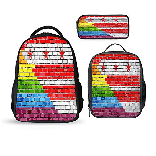 SARA NELL Brick Wall Washington Dc and Gay Flags School Backpack Set 3 Pieces Lightweight Boys Girls Bookbags Insulated Lunch Bag Pencil Case