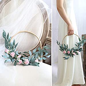 Bride Holding a Flower Basket Pure Manual Artificial Fake Rose Bridesmaid Bouquets Wedding is Decorated with Garlands Hang a Wreath on Home Door 78