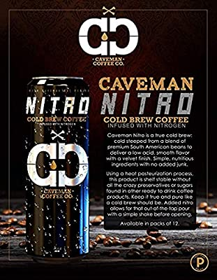 Nitro Cold Brew Coffee, Low Acidity, Sugar Free, Keto Friendly, Paleo Certified, No Refrigeration Required, South American Single Origin, Tall 11.5 oz Cans, 6 Pack